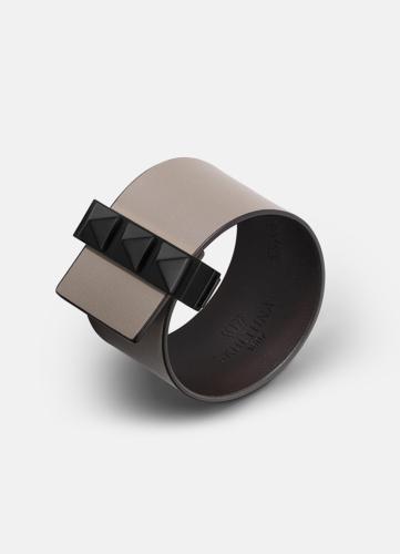 Clasp Rivets Bracelet Black - Grey