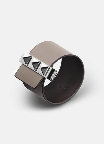 Clasp Rivets Bracelet Silver - Grey