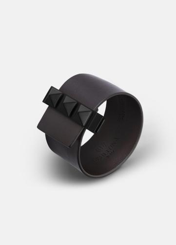 Clasp Rivets Bracelet Black - Dark Brown