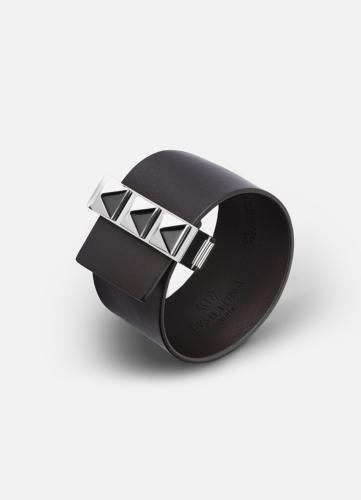 Clasp Rivets Bracelet Silver - Dark Brown
