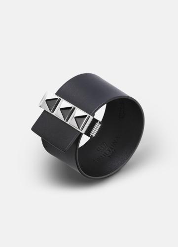 Clasp Rivets Bracelet Silver - Black