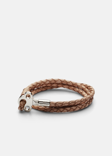 The Key Leather Bracelet Silver - Natural