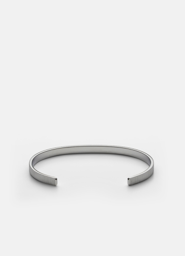 Ribbed Cuff Thin - Polished Steel