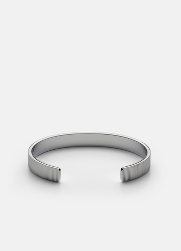 Ribbed Cuff - Polished Steel