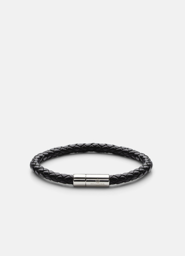 Leather Bracelet Silver - Black