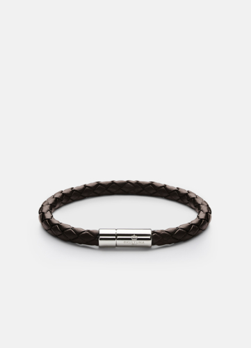 Leather Bracelet Silver - Dark Brown