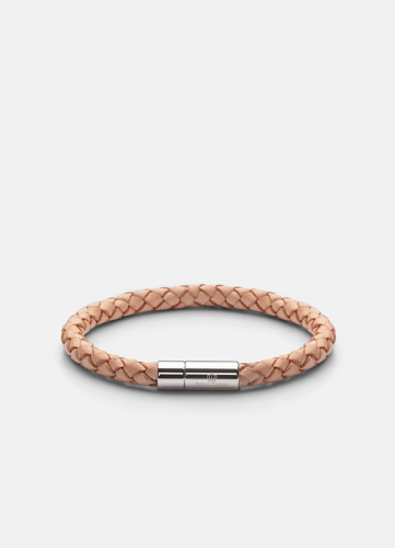 Leather Bracelet Silver - Natural
