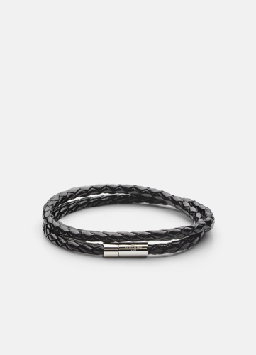 Leather Bracelet Thin Silver - Black