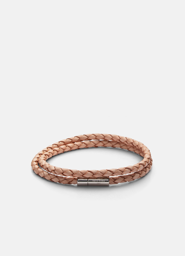 Leather Bracelet Thin Silver - Natural