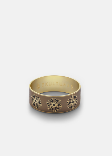 Flower Ornament Bangle - Creme & Black