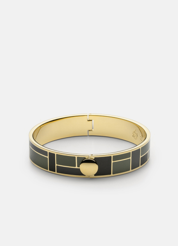 Block Enamel Bangle Thin - Camo Green