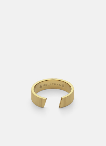 Ribbed Ring Wide - Gold plated