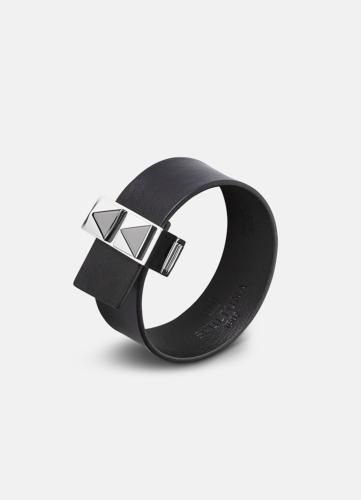 Clasp Rivets Thin Bracelet Silver - Black