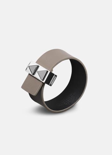 Clasp Rivets Thin Bracelet Silver - Grey