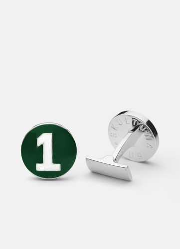 The Racer Cuff Silver - Racing Green & White
