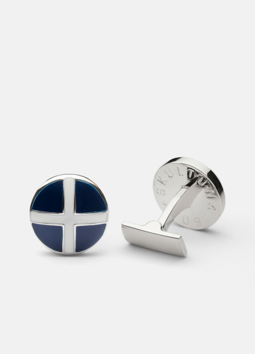 St Andrews Cross Silver - Blue & White