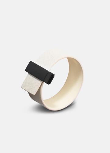 Clasp Leather Bracelet Thin Black - White