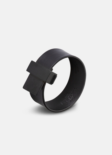 Clasp Leather Bracelet Thin Black - Black