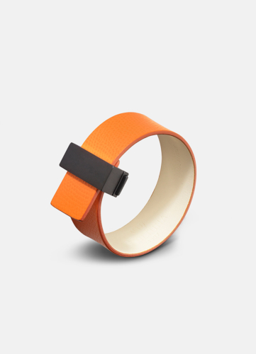 Clasp Leather Bracelet Thin Black - Orange