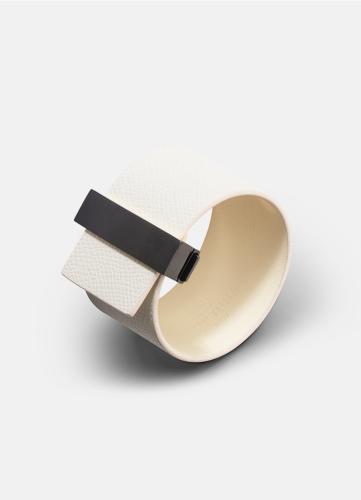 Clasp Leather Bracelet Black - White