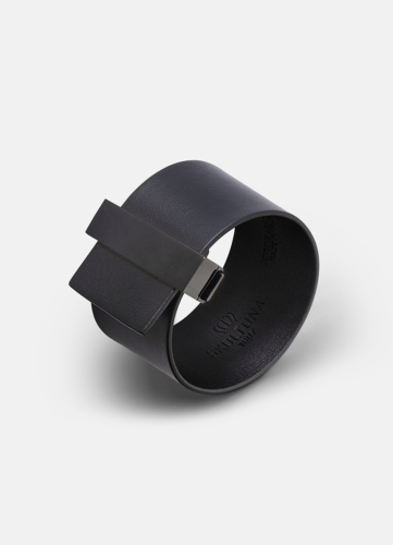 Clasp Leather Bracelet Black - Black