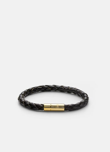 Leather Bracelet Gold - Dark Brown