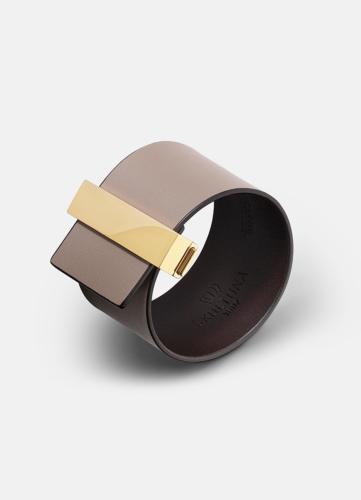 Clasp Leather Bracelet Gold - Grey