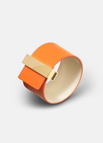 Clasp Leather Bracelet Gold - Orange