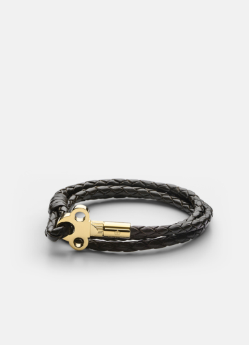 The Key Leather Bracelet Gold - Dark Brown