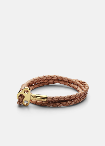 The Key Leather Bracelet Gold - Natural