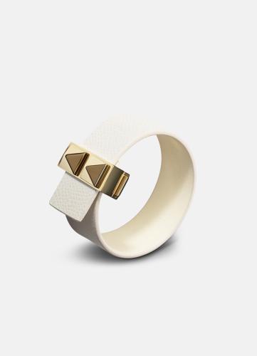 Clasp Rivets Thin Bracelet Gold - White