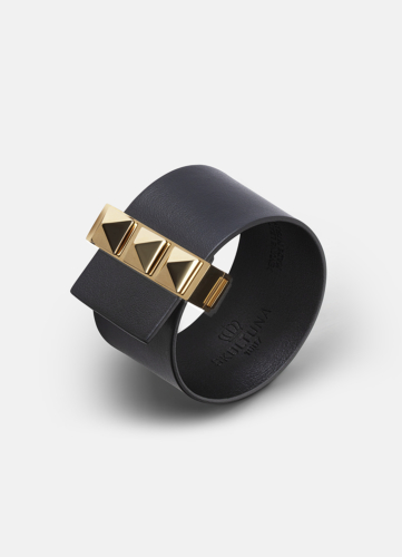 Clasp Rivets Bracelet Gold - Black
