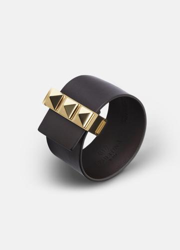 Clasp Rivets Bracelet Gold - Dark Brown
