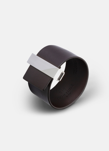 Clasp Leather Bracelet Silver - Dark Brown