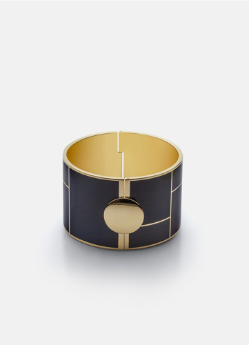 Block Enamel Bangle Wide - Dark Blue