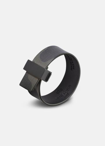 Clasp Leather Bracelet Thin Black - Camo