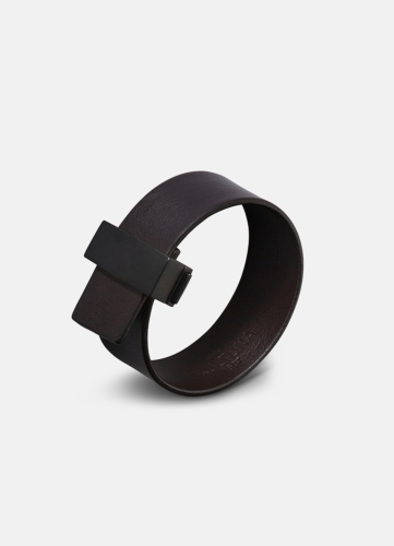 Clasp Leather Bracelet Thin Black - Dark Brown