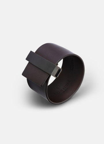 Clasp Leather Bracelet Black - Dark Brown