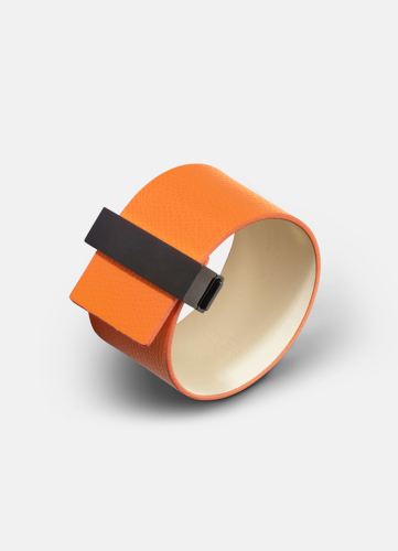 Clasp Leather Bracelet Black - Orange