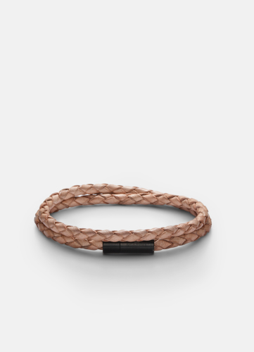 Leather Bracelet Thin Black - Natural