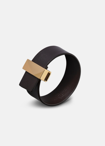 Clasp Leather Bracelet Thin Gold - Dark Brown