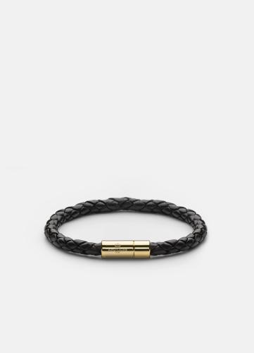 Leather Bracelet Medium Gold - Black