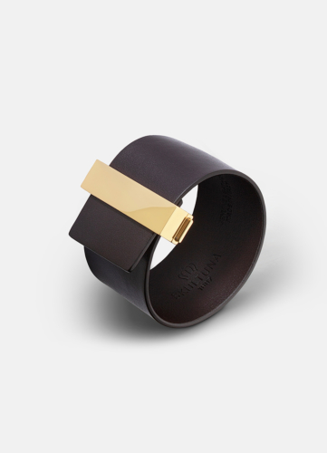 Clasp Leather Bracelet Gold - Dark Brown