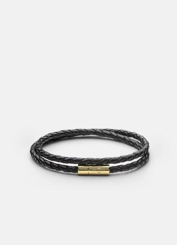 Leather Bracelet Thin Gold - Black