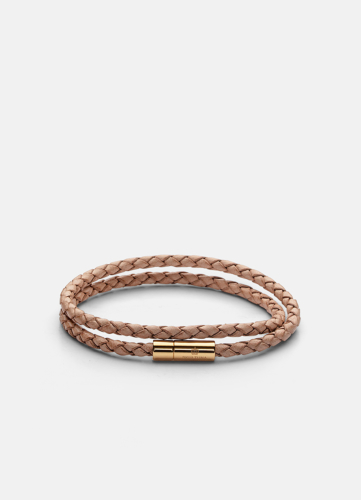Leather Bracelet Thin Gold - Natural
