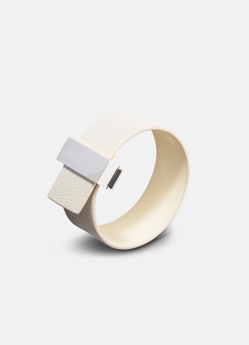Clasp Leather Bracelet Thin Silver - Beige