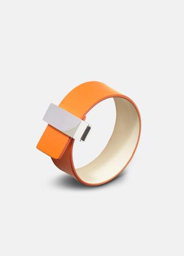 Clasp Leather Bracelet Thin Silver - Orange