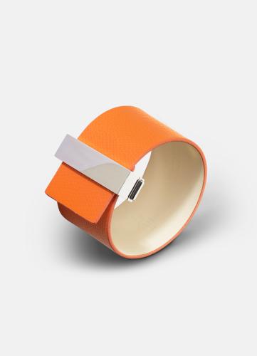 Clasp Leather Bracelet Silver - Orange