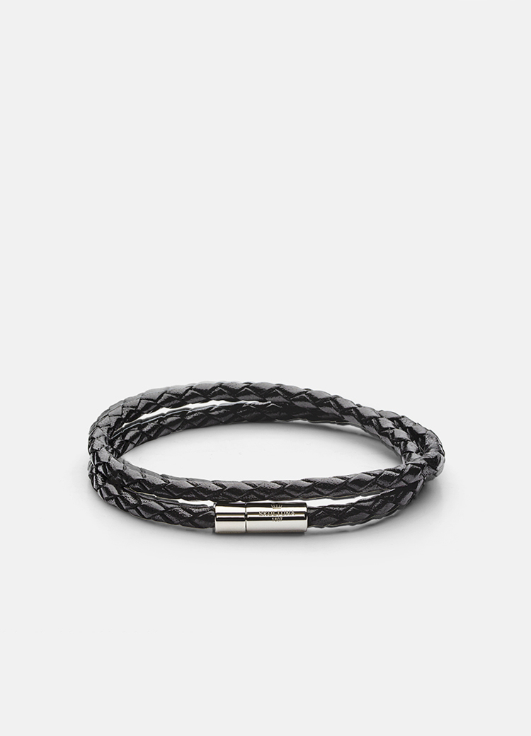 Leather Bracelet Silver Thin Black